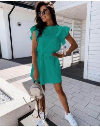 Стилна рокля в цвят мента с колан - код 0071