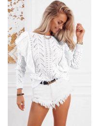 Ефектна плетена блуза в бяло - код 5321