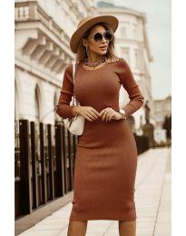 Дамска рокля в кафяво - код 8485