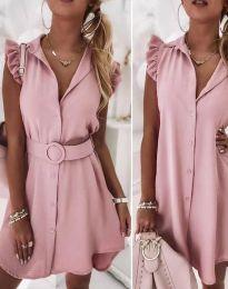 Дамска рокля с колан в цвят пудра - код 7411