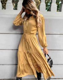 Дамска рокля в жълто - код 6522