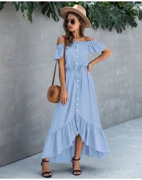 Свободна дълга рокля в светло синьо - код 564
