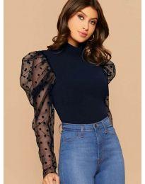 Блуза в тъмно синьо с бухнали тюлени ръкави на булинки - код 3563