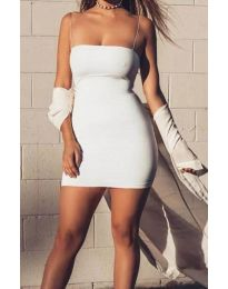 Вталена рокля с тънки презрамки в бяло - код 3687
