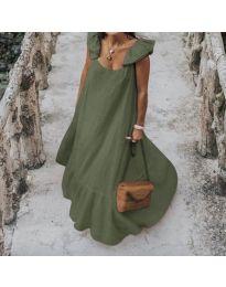 Свободна дълга рокля в маслено зелено - код 9036