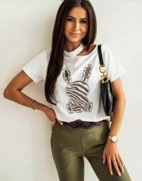 Атрактивна тениска с принт в бяло - код 11639