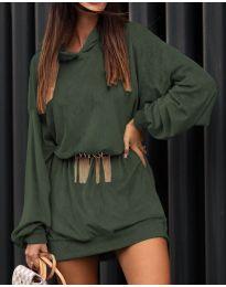 Дамска рокля в маслено зелено - код 4547