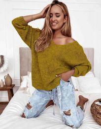 Дамски пуловер в цвят горчица - код 3255