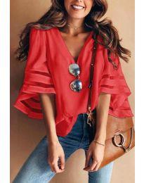 Ефектна дамска блуза в червен цвят - код 3371