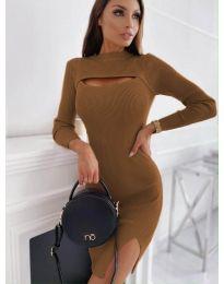 Дамска рокля в кафяво - код 4528