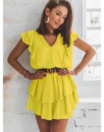 Феерична рокля в жълто - код 7173