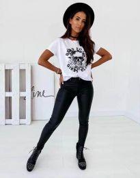Дамска тениска в бяло с принт - код 2527