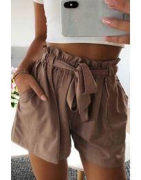 Къси панталонки в кафяво - код 3637