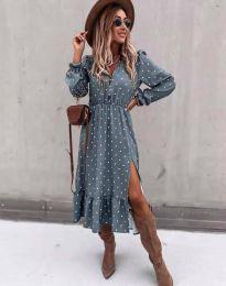 Атрактивна дамска рокля в синьо - код 2834
