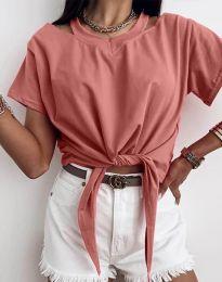 Ефектна дамска тениска в цвят корал - код 11669