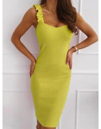 Дамска рокля с ефектни презрамки в неоново жълто - код 029