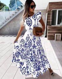 Дълга рокля с атрактивен десен в синьо - код 1458
