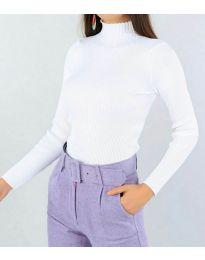 Дамска блуза с поло яка в бяло - код 3800