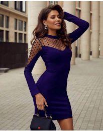 Елегантна рокля по тялото в тъмно синьо - код 2484