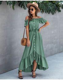 Свободна дълга рокля в зелено - код 564