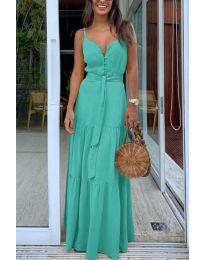 Дълга дамска рокля в цвят тюркоаз - код 2050