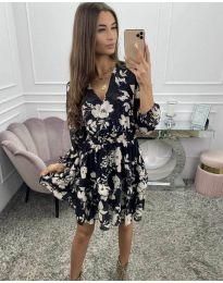 Дамска рокля  в черно с флорален десен - код 5589