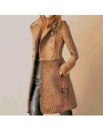 Дамско палто с колан в кафяво - код 3100
