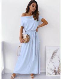 Изчистена рокля в светло синьо - код 7700