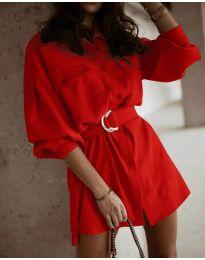Свободна рокля в червено - код 6461