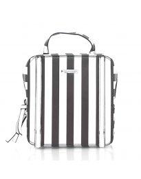 Дамска чанта на райе в черно - код 5585