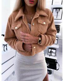 Дамско късо палто в кафяво - код 9495