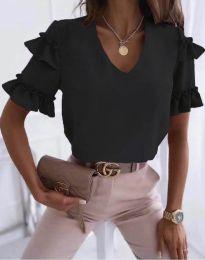 Дамска блуза в черно с къдрички - код 2670