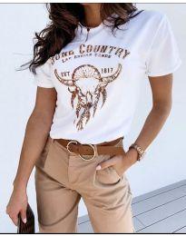 Тениска с ефектен принт в бяло - код 428