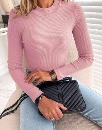 Блуза с поло яка в цвят пудра - код 0688