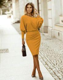 Елегантна дамска рокля в цвят горчица - код 2242
