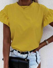 Дамска тениска с ефектни ръкави в цвят горчица - код 4352
