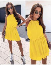 Ефирна дамска рокля в жълто - код 513