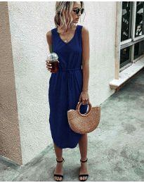 Свободна дамска рокля в  тъмно синьо - код 681