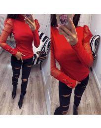 Елегантна блуза с тюлени ръкави в червено - код 922
