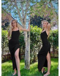 Атрактивна дълга рокля в черно - код 7858