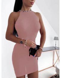 Дамска рокля в цвят пудра - код 9690