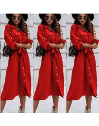 Свободна дамска рокля в червено - код 1510
