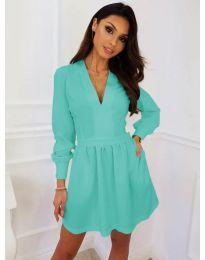 Кокетна рокля в цвят тюркоаз - код 089