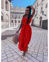 Дълга дамска рокля в червено  - код 1230