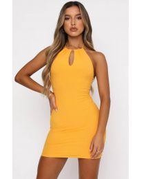 Атрактивна дамска рокля в жълто - код 11936