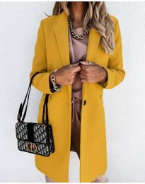 Свободно палто в цвят горчица - код 7709