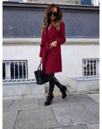 Елегантно дамско палто в цвят бордо - код 7940