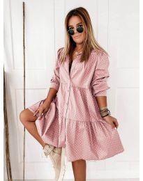 Свободна дамска рокля в розово - код 5557
