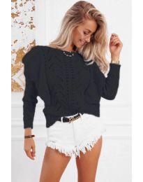 Ефектна плетена блуза в черно - код 5321