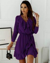 Атрактивна дамска рокля в тъмнолилаво - код 0578